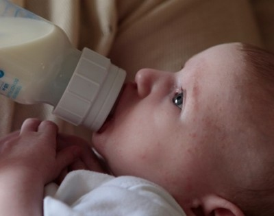First year: Adapted milk and feeding bottle